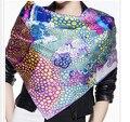100% чистый шелк печатных шарф большой площади дот-полька flowral печатных шелковые шарфы чистого шелка пляжное полотенце шелковые платки 90 * 90 см