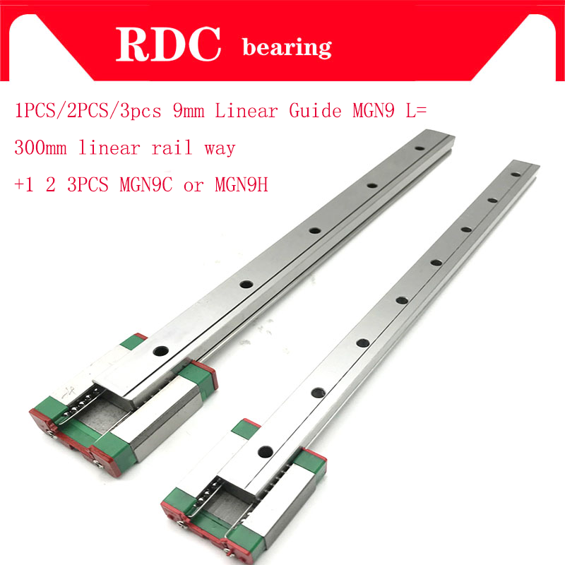 1 2 3pcs 9mm Linear Guide MGN9 L= 300mm High quality linear rail way +1 2 3pcs MGN9C or MGN9H Long linear carriage for CNC XYZ