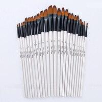 12 pinceaux Pinceaux de peinture de taille mixte Nylon blanc Aquarelle Brush Set Student Children Painter Art Supplies