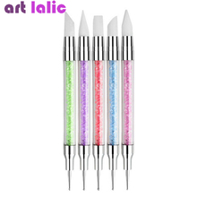 5pcs set 2 Way Crystal Silicone Head Nails Dotting Rhinestone Tools Nail Art Paint Sculpture Pen Design Acrylic Tassels Brush cheap Art lalic CN(Origin) 17cm C1905061512 Acrylic + Silicone Nail Brush As picture shows 5 different shapes a set For nail art Dotting Painting