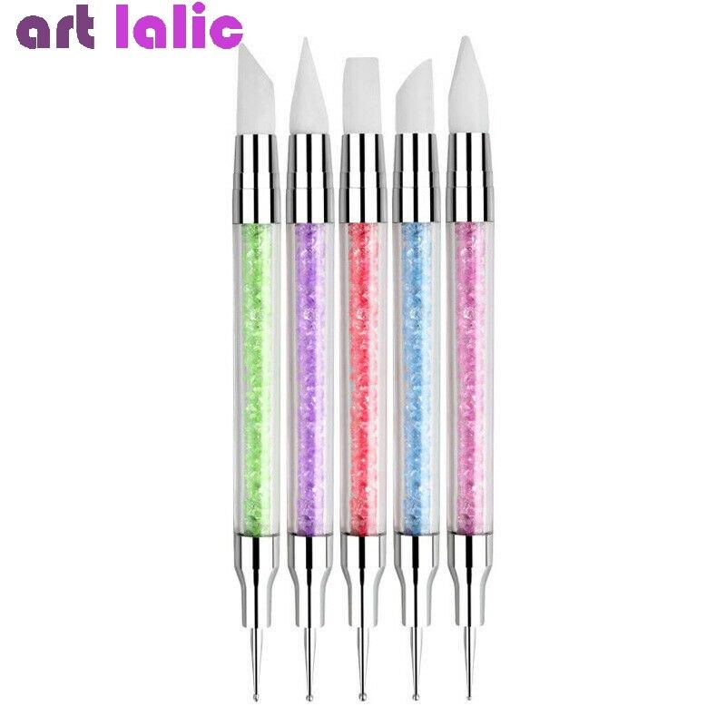 5pcs/set 2 Way Crystal Silicone Head Nails Dotting Rhinestone Tools Nail Art Paint Sculpture Pen Design Acrylic Tassels Brush