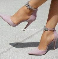 2019 Stiletto Pointed Toe Bling Crystal Flowers Woman Pumps Ankle Strap Purple Shallow Female Office Dress Shoes Real Photos
