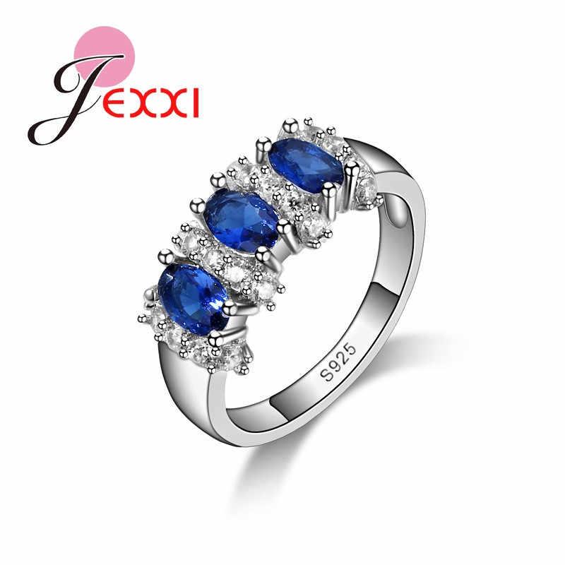Fine 925 Sterling Silver Blue Sapphire หมั้นแหวน Anillos Bijoux Bague Femme