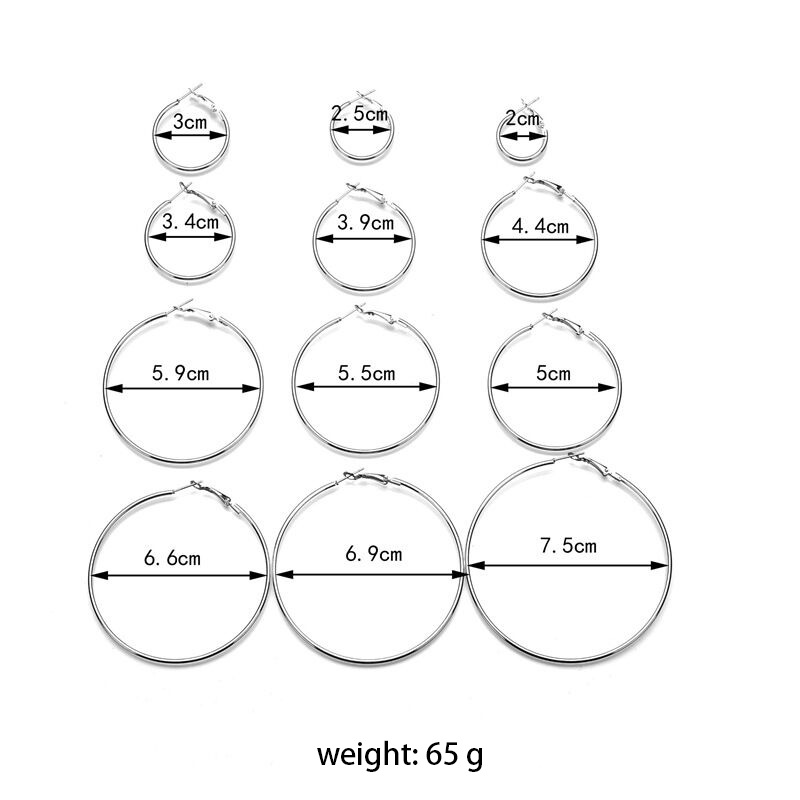CHENFAN Exaggerated metal big ear ring set personality trend ear ring 12 pairs combination fashion earrings for women 2019 in Hoop Earrings from Jewelry Accessories