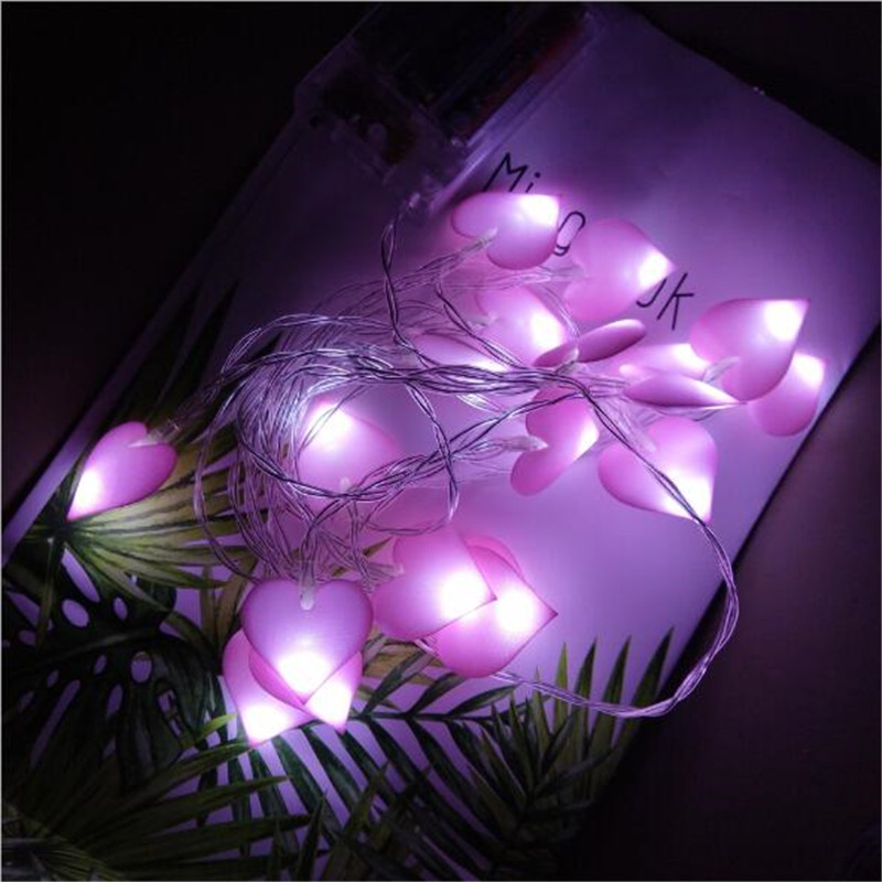 Led String Just Romantic Heart Led Light String With Battery Box Pink/blue Cloth Heart Night Light For Holiday Birthday Party Deco 15/300cm 2324 Lights & Lighting