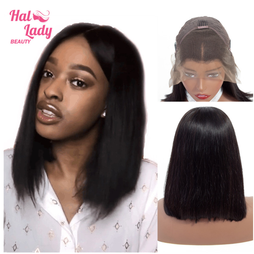 13x4 Bob Lace Front Human Hair Wigs Middle Deep Part Brazilian Lace Front Non-remy Hair Wigs with Baby Hair Halo Lady Beauty