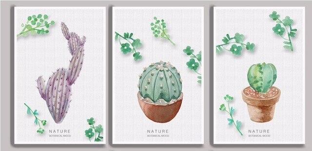 Nórdico pequeño fresco natural planta verde hojas cactus 3 unidades ...