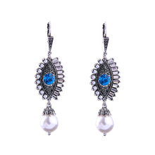 Fashion Trendy Crystal Turkish Evil Eye Drop Earrings For Women Girls Hand of Fatima Jewelry Brinco