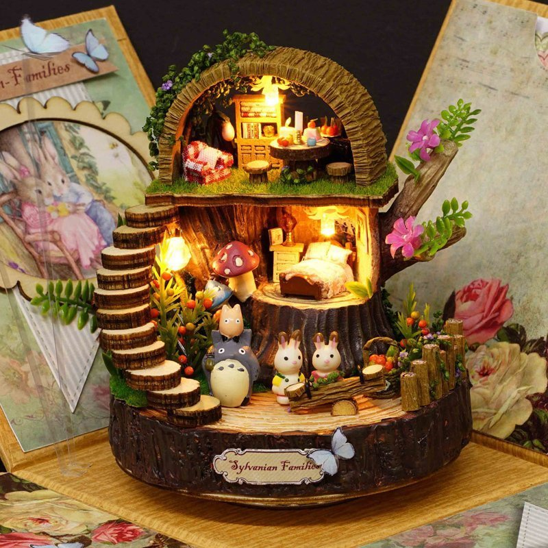 WORKMANSHIP Production Wood House Toy Block Educational Toys Model Diy Bricolage Creative Music Box Send Birthday Gift L456 bricolage model diy production nuts squirrel wood house refinement with led light house and home furnishings birthday gift l481