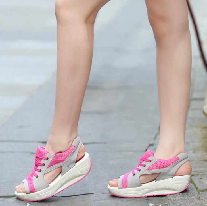 EFFGT 2018 Fashion Summer Women's Sandals Casual Mesh Breathable Shoes Women Ladies Wedges Sandals Lace Platform Sandalias N07 3