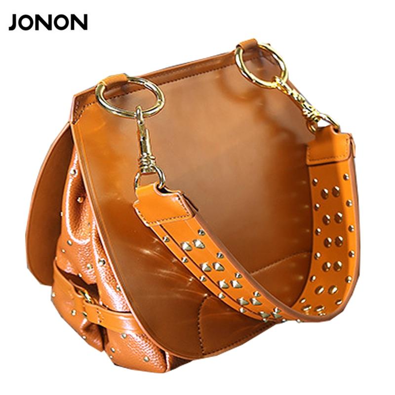 ФОТО Women's Leather Bag Brand Desinger Saddle Vintage Rivets Messenger Bag Ladies Casual Bags Crossbody Shoulder Bag Bolsas