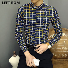 LEFT ROM Autumn Long sleeve Men's casual shirt Men 2017 leisure culture Checked stripe Lapel Large size Business affairs coat