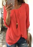 2019 Модные женские свободный круглый воротник плиссированные Обрезанные рукава рубашка женская футболка женская однотонный, из полиэстра О...