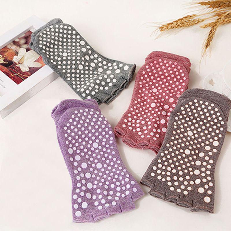 @1  Женщины Девушки Дышащие Босоножки с Ногами на Полусапожках Йога Пилатес Короткие Носки Лодыжки Тверд ★