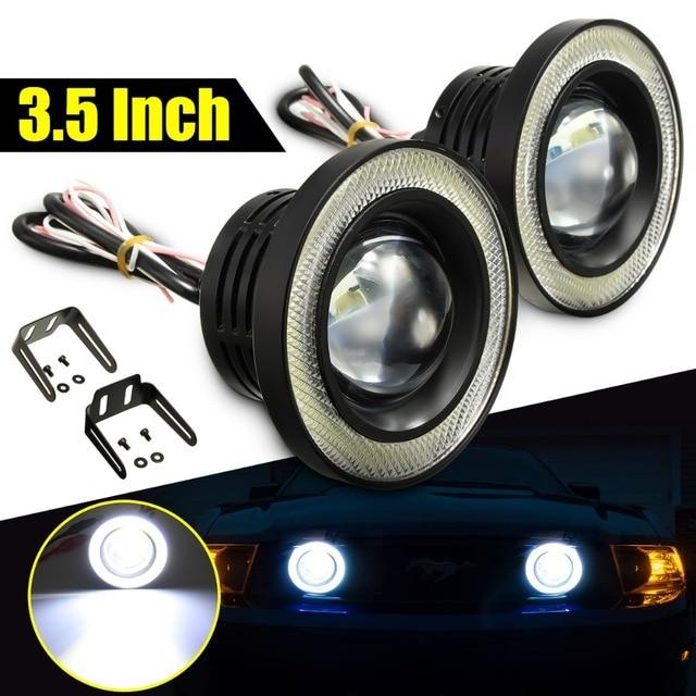 2x voiture cob led angel eyes phares antibrouillard lentille projecteur led halo anneau blanc. Black Bedroom Furniture Sets. Home Design Ideas