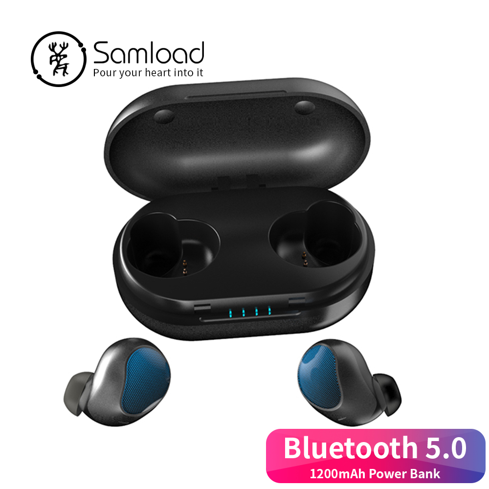 Samload wireless earphone earbus Bluetooth 5 0 headphone 3D Stereo in ear with Charging box For