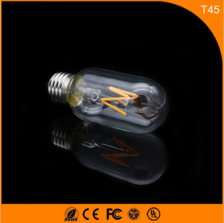 50PCS 3W E27 Led Bulb, T45 LED COB Vintage Edison Light ,Filament Light Retro Bulb AC 220V 5pcs e27 led bulb 2w 4w 6w vintage cold white warm white edison lamp g45 led filament decorative bulb ac 220v 240v