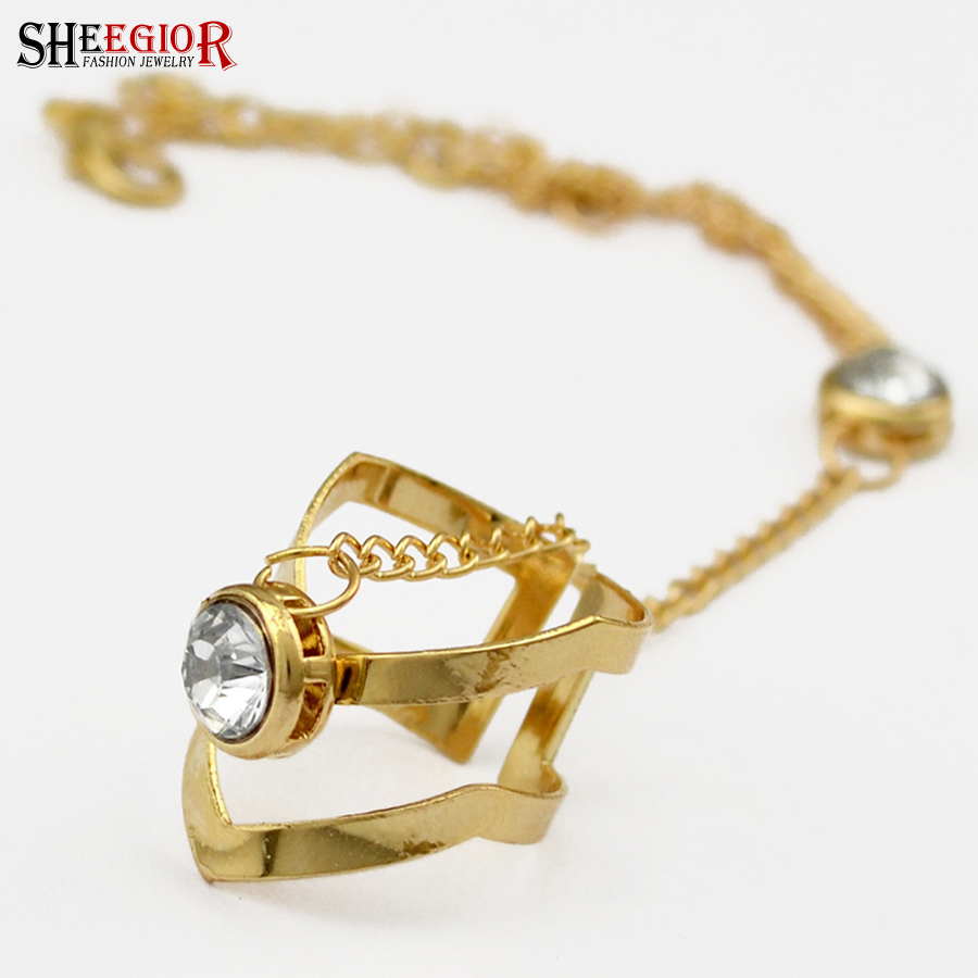 SHEEGIOR Bohemian Wrist Chains Rings for Women Fashion Jewelry Lovely Gold Rhinestone Open Ring Men Bague Femme Accessories Gift