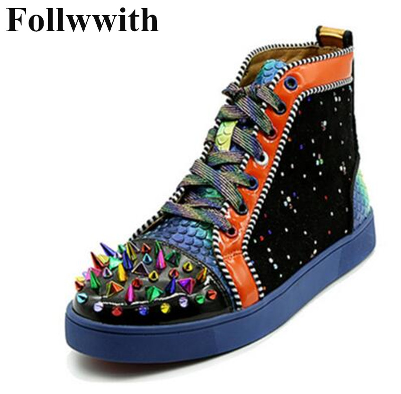 2018 Follwwith Spikes Rivets High Top Mixed Colors Patchwork Fashion Men Casual Shoes Flats Lace Up Hommes Chaussures Sneakers spring autumn high quality patchwork future leather high top men casual shoes lace up mixed colors flats ankle wrap mens shoes