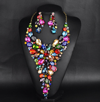 Luxury Fashion Bridal Jewelry Sets Gorgeous Crystal Rhinestone colorful Necklace Earring For Brides Wedding Dress Accessories