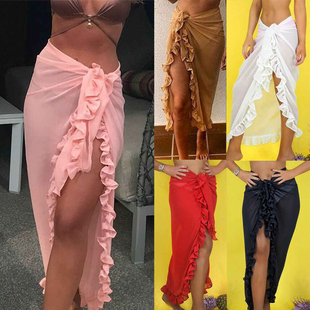 Vrouwen Chiffon See-Through Beach Bikini Cover Up Wrap Sjaal Badmode Pareo Sarong Jurk Solid Ruffle Casual Strand Jurk