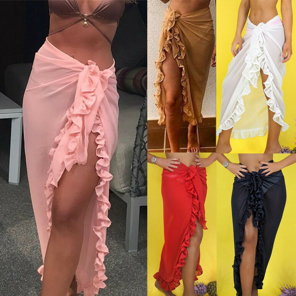 Women Chiffon See-Through Beach Bikini Cover Up Wrap Scarf Swimwear Pareo Sarong Dress Solid Ruffle Casual Beach Dress