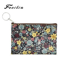Fecilia Women Coin Purse Cute Flower Printing Ladies Small Wallet Phone Pocket Headset Line Pouch Mini Wallets Zipper Bag Gift
