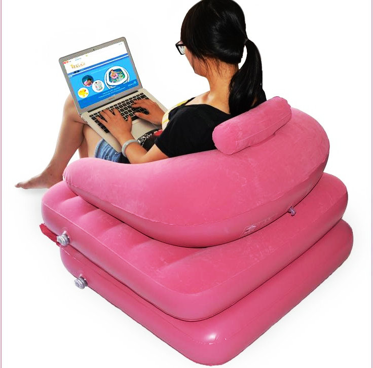 Mother & Kids Humor Modern Adult Inflatable Solid Sofa Leisure Living Room Furniture Comfortable Recreational Flocking Pvc Lounger Sofa Chair Accessories