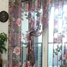 Purple Tulle for Windows Luxury Sheer Curtain for Kitchen Living Room The Bedroom Design Window Treatments Panel Draperies
