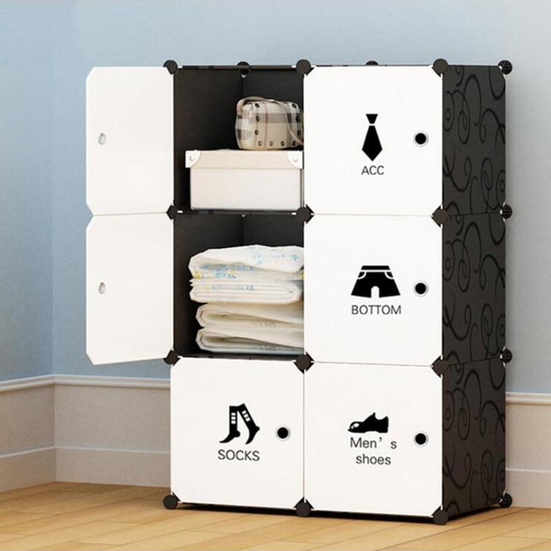 Modern Portable Wardrobe Assembly Plastic Wardrobe Bedroom Locker Wardrobe Storage Box Clothes Cabinet Plastic Folding Closets