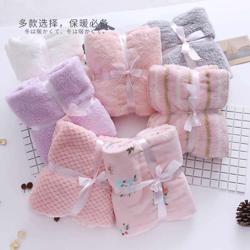 Fluffy Plush Flanel Pink Cozy Photo Prop Posing Winter Baby Girl Blanket Swaddle Bedding Quilt Airplane Sofa Backseat Cover