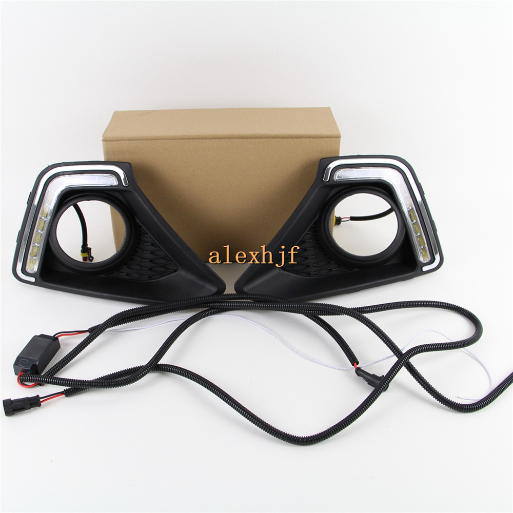 July King 1pair LED Daytime Running Lights DRL with Fog Lamp Cover, LED Fog Lamp case for Hyundai XCENT GRAND I10 2014~15 1:1 for opel astra h gtc 2005 15 h11 wiring harness sockets wire connector switch 2 fog lights drl front bumper 5d lens led lamp