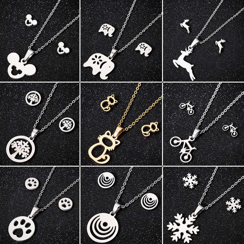 Shuangshuo Stainless Steel Jewelry Mickey Necklaces & Pendants Chain Choker Necklace For Women Animal Cat Deer Collares