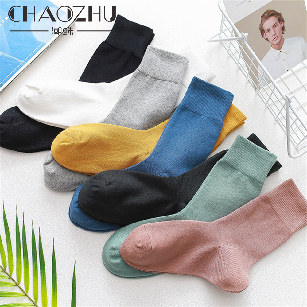 CHAOZHU 2019 Spring Men's Basic Daily Solid Colors 100% Cotton High Quality Business Black White Grey Socks Casual Men Socks