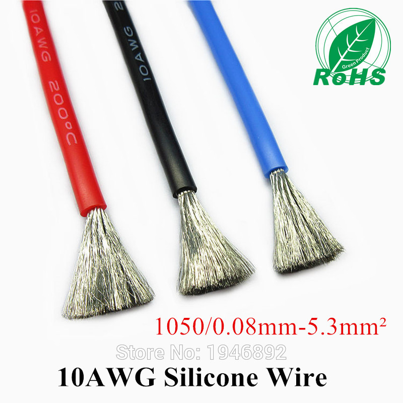 10AWG Flexible Silicone Wire RC Cable 10AWG 1050/0.08TS Outer Diameter 5.5mm 5.3mm Square Model airplane Wire 1meter red black blue12 10 12awg 10awg heatproof soft silicone silica gel wire connect cable for rc model battery part