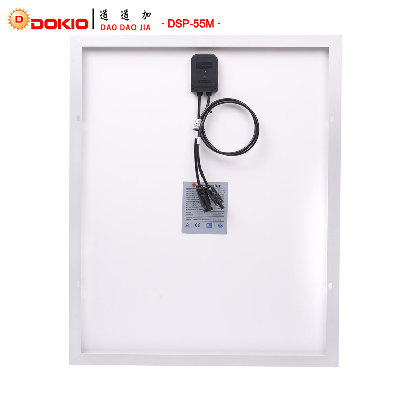 DOKIO Brand 55W 18 Volt Black Solar Panel China + 10A 12/24 Volt Controller 55 Watt Panels Solar Cell/Module/System/Home/Boat