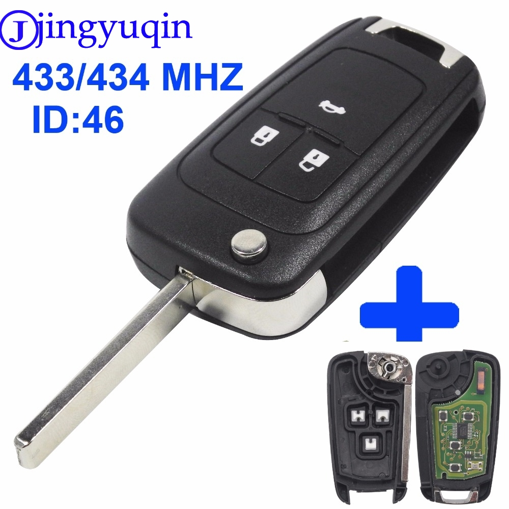 jingyuqin 433MHz With ID46 Chip Flip Folding Key Shell Cover For Chevrolet Cruze Remote Key Fob 3 Buttons
