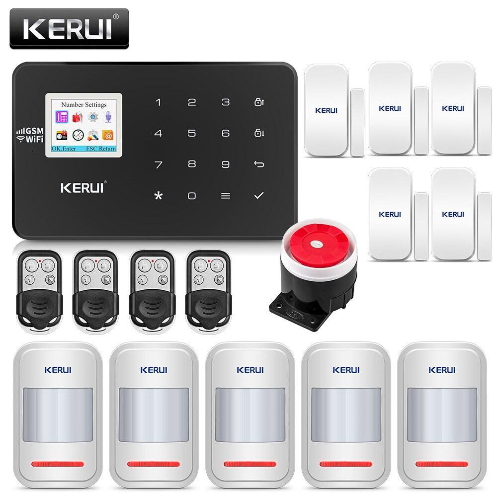 KERUI W18 czarny kolor psychicznego pilot zdalnego sterowania bezprzewodowy Alarm domowy Wifi GSM aplikacji LCD GSM SMS włamywacz System alarmowy