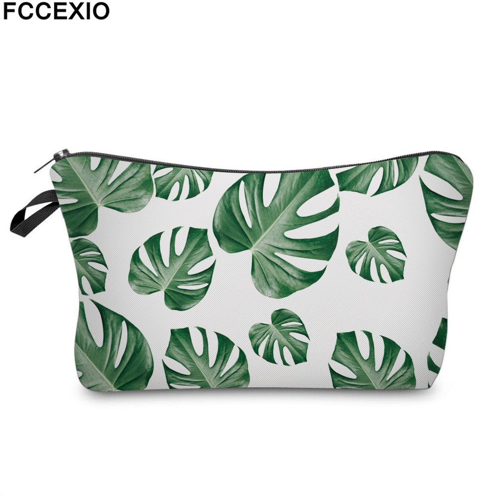 FCCEXIO New 3D Print Makeup Bags With Tropical Leaves Pattern Cute Cosmetics Pouchs For Travel Ladies Pouch Women Cosmetic Bag