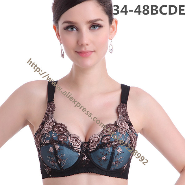 b451af6859 Sexy Plus Size Embroidery Bras Big Breast Lace Full Cup Push Up Bras With  Pads 75 36 85 40 95 100 110 B C D E Free Shipping