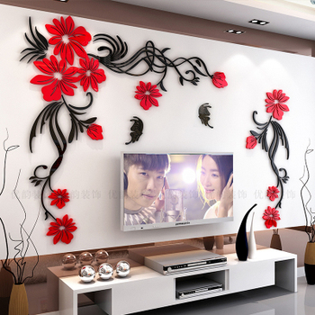 Creative flower 3D stereo acrylic wall sticker background warm decoration Large Size Mural Home Decor Living Room Wall Decals 14