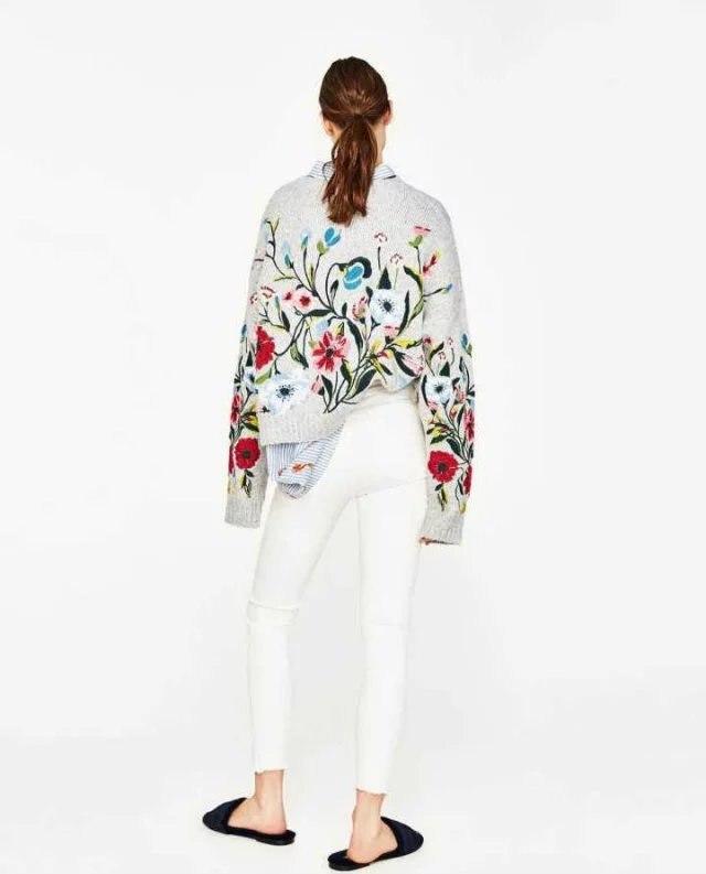 Pull Fleur Laine Dames Gris Designer Vintage Ethnique Mujer Lourd Hiver Tricot Broderie Chandail Femmes Casaco Piste ARqxYS7f