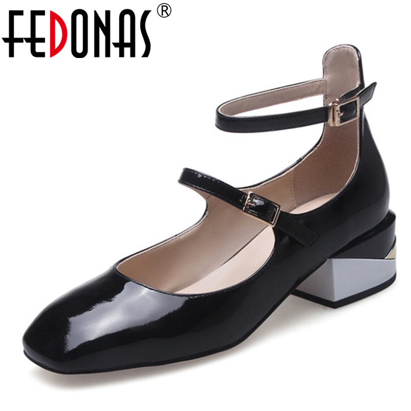 FEDONAS 2018 Lady High Quality Genuine Leather Thick Heel Women's Pumps Fashion Buckles Square Toe High Heel Pumps Shoes Woman newest solid flock high heel pumps woman