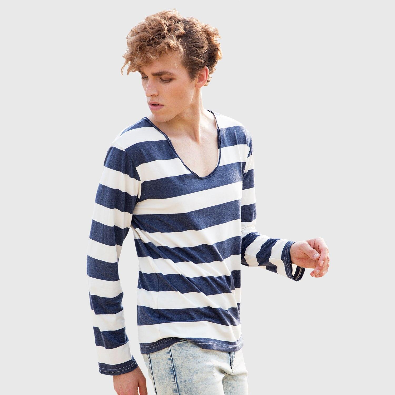 3797a4a9989e Camisa listrada T V Pescoço Camisas de T Para Homens Stripe Masculino verão  Camisetas de Manga Longa T Moda Camisas Marinheiro Algodão Parte Superior  ...