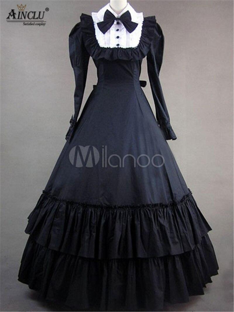 Ainclu Costume Vintage femme victorien noir coton manches longues à volants rétro Maxi robe pour fête d'halloween