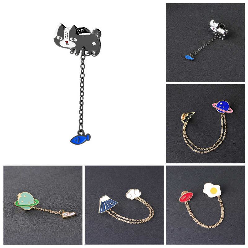 ef04a4a5f7e Hot Sale New Fashion 7 Style Cute Cartoon Cat Rabbit Planet Lightning Enamel  Pins Brooches Collar