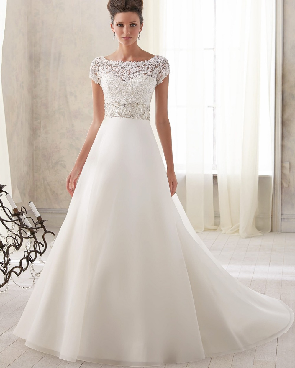 Sexy Short Sleeve Lace Wedding Dress 2016 New Arrival