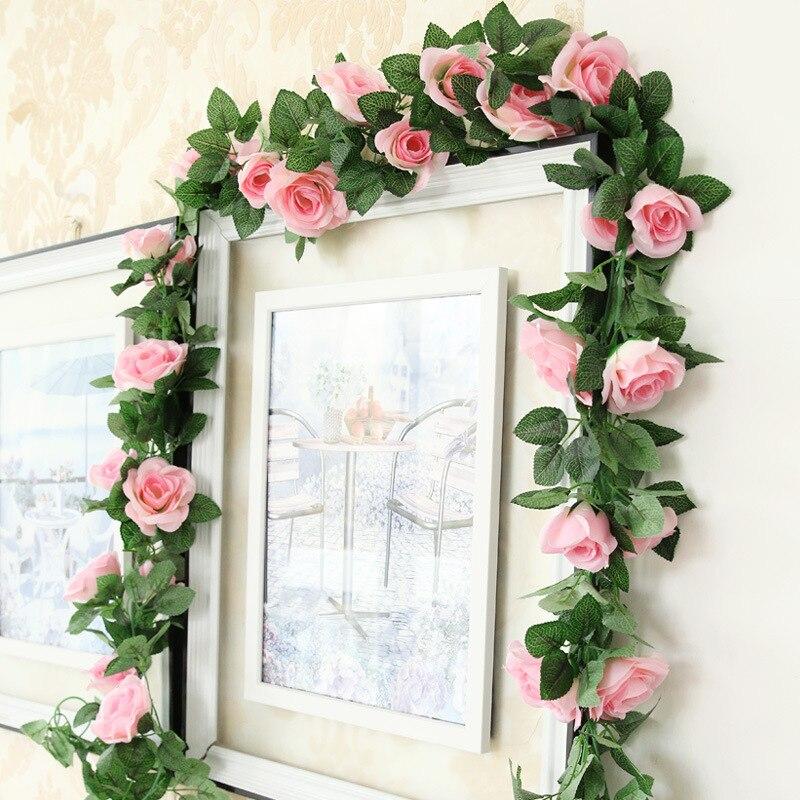 NuoNuoWell 16 Kepala Hot Buatan Silk Rose Flower Ivy Vine Garland Strings  Pernikahan Rumah Ruang Bunga b2f81ca055