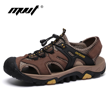 2019 Summer Genuine Leather Sandals Men Summer Shoes Lightweight Comfort Men Beach Sandals Hook Loop Leather Men Shoes Plus Size uexia 2018 new men sandals leather summer hook