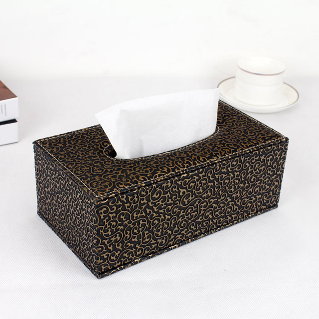 Magnetic Lock Wooden Struction Leather Rectangle Tissue Box Holder Napkin Toilet Paper Dispenser Case